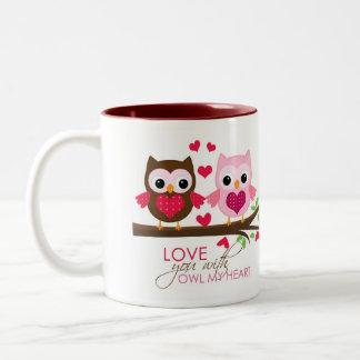 Búho en la taza de la rama (rosa) - taza del amor