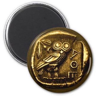 Búho en moneda del griego clásico imán redondo 5 cm