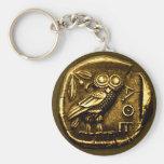 Búho en moneda del griego clásico llavero