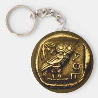 Búho en moneda del griego clásico llavero redondo tipo pin