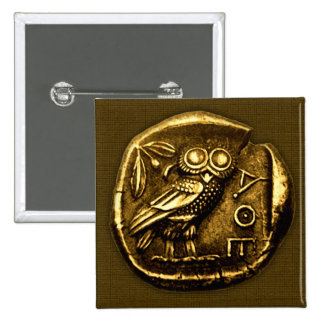 Búho en moneda del griego clásico pins