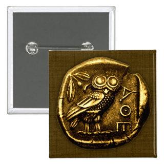 Búho en moneda del griego clásico pin cuadrado