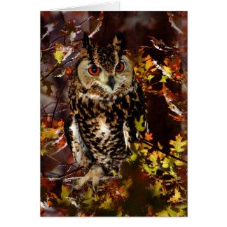 Búho en otoño tarjeta de felicitación