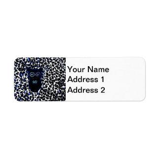Búho en puntos negros y azules del leopardo etiquetas de remite