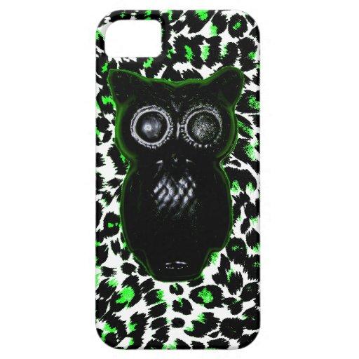 Búho en puntos verdes del leopardo iPhone 5 protectores