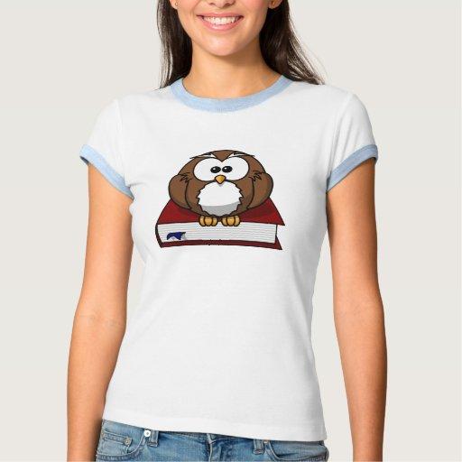 Búho en un dibujo animado del libro t-shirts