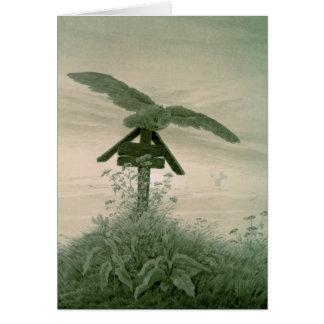 Búho en un sepulcro, 1836-7 tarjeta de felicitación