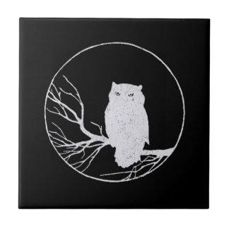 Búho en una rama en un círculo azulejo cuadrado pequeño