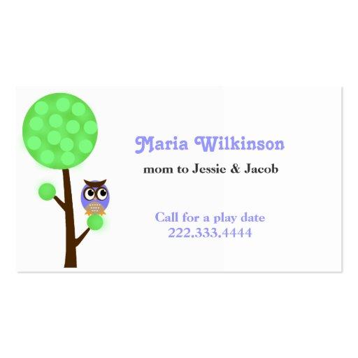 Búho en una tarjeta de la mamá del árbol tarjeta de visita