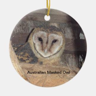 Búho enmascarado australiano adorno navideño redondo de cerámica