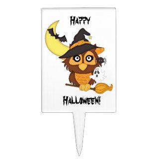 Búho/fantasma/palos/luna de Halloween Figuras De Tarta