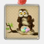 Búho feliz de Pascua Ornamento Para Arbol De Navidad