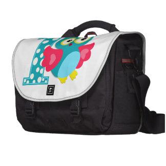 Búho feliz del primer cumpleaños bolsas de portátil