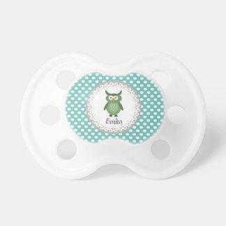 Búho femenino de lujo de moda lindo personalizado chupete de bebe