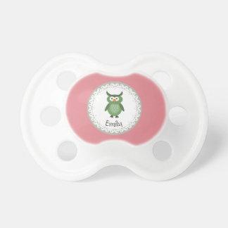 Búho femenino de lujo de moda lindo personalizado chupetes de bebe