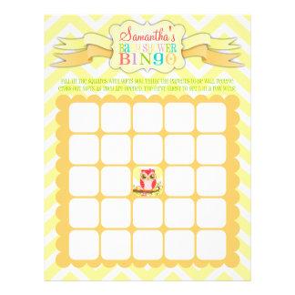 Búho femenino rosado - bingo de la fiesta de tarjetones