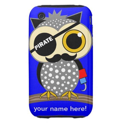 búho fresco del pirata iPhone 3 tough fundas