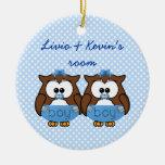 búho gemelo del bebé ornamento para arbol de navidad