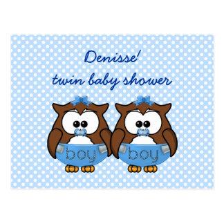 búho gemelo del bebé postales