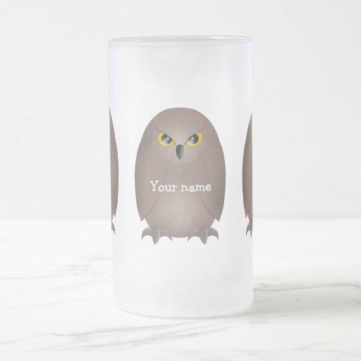 Búho glaring lindo tazas