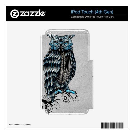Búho gótico azul Halloween iPod Touch 4G Skin
