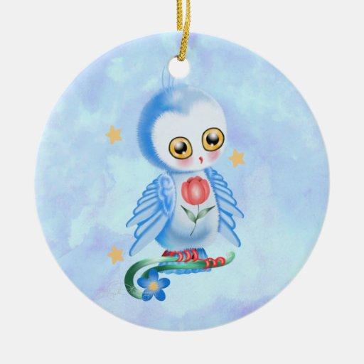 Búho grande del azul del ojo ornaments para arbol de navidad