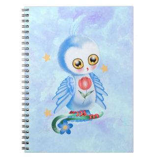 Búho grande del azul del ojo libro de apuntes con espiral