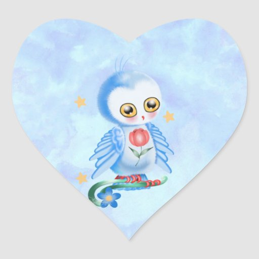 Búho grande del azul del ojo pegatina de corazón