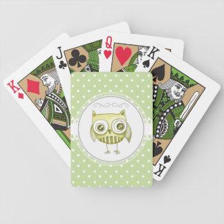 Búho hermoso con el trullo en colores pastel del p cartas de juego