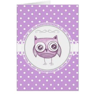Búho hermoso con lavanda en colores pastel de los  tarjeta de felicitación