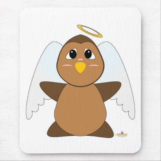 Búho Huggable de Brown del ángel Alfombrillas De Ratón