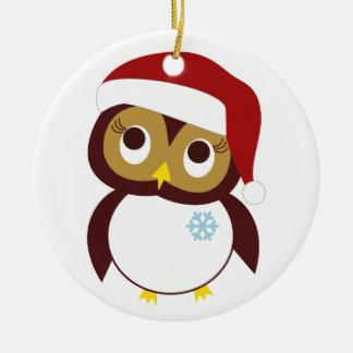 Búho-idays feliz adorno navideño redondo de cerámica