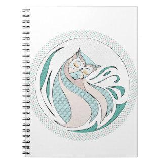 Buho Ilustracion - Owl Illustration Libro De Apuntes Con Espiral