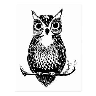 Búho ilustrado simple postales