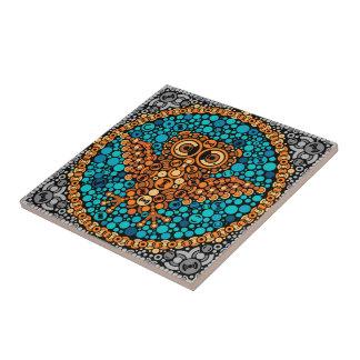 Búho inalámbrico, prueba de la opinión de color, azulejo cuadrado pequeño