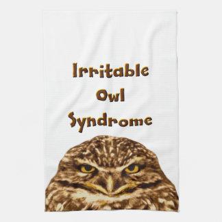 Búho irritable toalla de mano