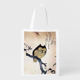 Búho japonés del ukiyo-e del arte en una rama bolsa reutilizable