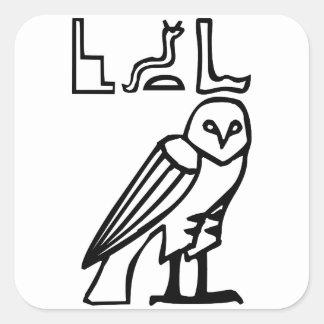 Búho, jeroglífico egipcio pegatina cuadrada