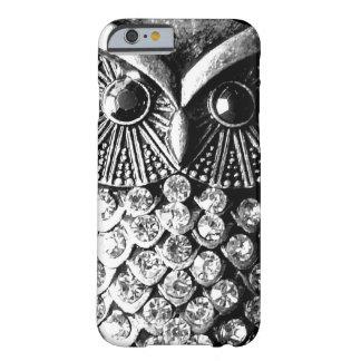 Búho Jewelled glamoroso del metal Funda De iPhone 6 Barely There