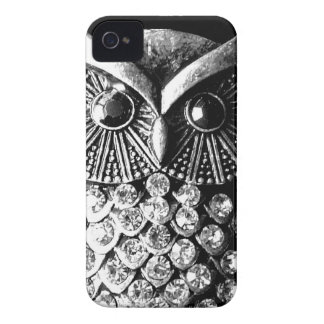 Búho Jewelled glamoroso del metal iPhone 4 Coberturas