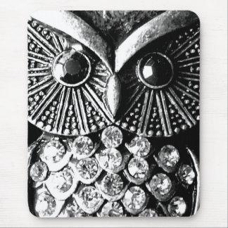 Búho Jewelled glamoroso del metal Tapetes De Raton
