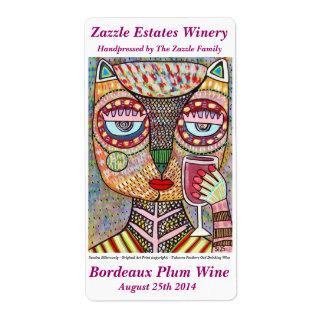 Búho judío de la etiqueta del vino que bebe el etiqueta de envío