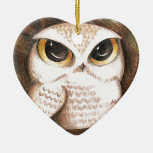 Búho lindo adorno de cerámica en forma de corazón