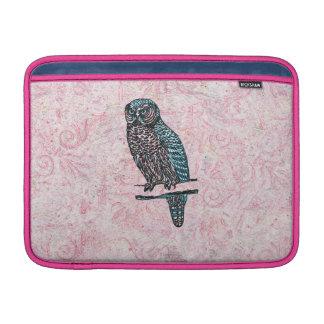 Búho lindo azul rosado del vintage fundas macbook air