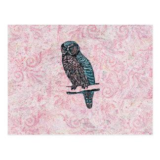Búho lindo azul rosado del vintage postales