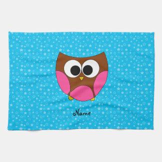 Búho lindo conocido personalizado toalla de mano