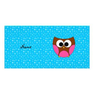 Búho lindo conocido personalizado tarjetas con fotos personalizadas