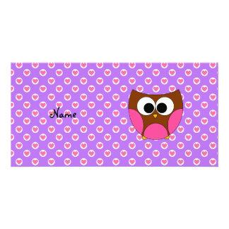 Búho lindo conocido personalizado plantilla para tarjeta de foto
