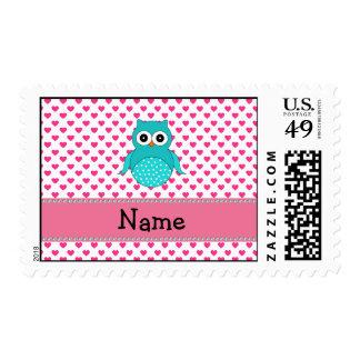 Búho lindo conocido personalizado timbres postales