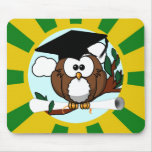 Búho lindo de la graduación del dibujo animado con tapete de raton